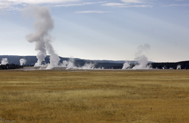 geysers in the distance