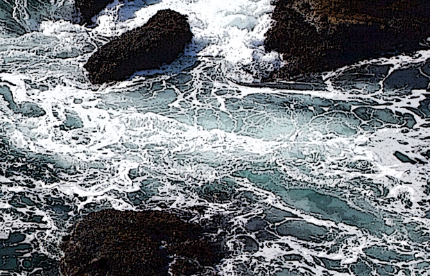 Waves Breaking Over Rocks